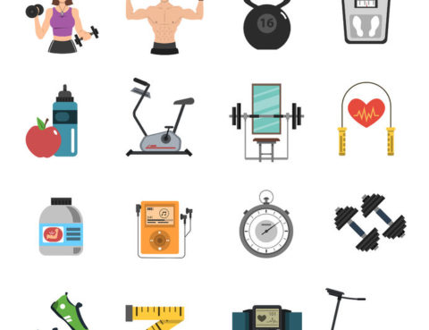 41896117 - gym tools and fitness nutrition icon flat set isolated vector illustration